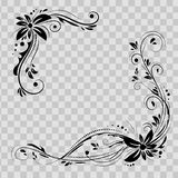 Floral σχέδιο γωνιών Μαύρα λουλούδια διακοσμήσεων στο διαφανές υπόβαθρο - διανυσματικό απόθεμα Διακοσμητικά σύνορα με flowery Στοκ εικόνα με δικαίωμα ελεύθερης χρήσης