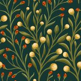 Floral σχέδιο με τα κίτρινα και πράσινα μικρά λουλούδια απεικόνιση αποθεμάτων