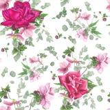 Floral σχέδιο με τα ρόδινα τριαντάφυλλα, ζωγραφική watercolor Στοκ εικόνα με δικαίωμα ελεύθερης χρήσης