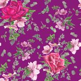 Floral σχέδιο με τα ρόδινα τριαντάφυλλα, ζωγραφική watercolor Στοκ φωτογραφία με δικαίωμα ελεύθερης χρήσης