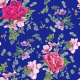 Floral σχέδιο με τα ρόδινα τριαντάφυλλα, ζωγραφική watercolor Στοκ Εικόνες