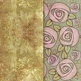 Floral σχέδιο στο shabby χρυσό υπόβαθρο Στοκ Φωτογραφίες