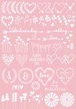 Floral σχέδια καρδιών, διανυσματικό σύνολο Στοκ Εικόνες