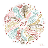 Floral σχέδιο, αγάπη Στοκ εικόνα με δικαίωμα ελεύθερης χρήσης