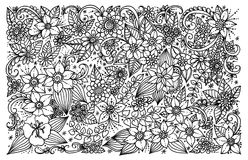 Floral σχέδιο για το χρωματισμό του βιβλίου Στοκ Φωτογραφίες
