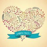 Floral σχέδιο καρδιών, Hand-Drawn απεικόνιση διανυσματική απεικόνιση