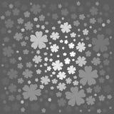 Floral σχέδιο με τα άσπρα και γκρίζα χρωματισμένα λουλούδια Στοκ Εικόνες