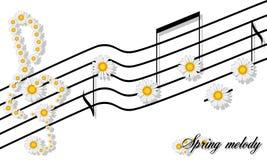 Floral σχέδιο τυπωμένων υλών μελωδίας άνοιξη των σημειώσεων camomiles μια σανίδα και το τριπλό clef που απομονώνονται για στο λευ στοκ εικόνα με δικαίωμα ελεύθερης χρήσης