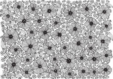 Floral σχέδιο υποβάθρου - χρωματίζοντας σελίδα με τα λουλούδια Στοκ Φωτογραφίες