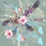 Floral σχέδιο υφάσματος με τα λουλούδια άνοιξη στο ρεαλιστικό ύφος Στοκ Φωτογραφίες