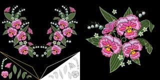Floral σχέδιο neckline κεντητικής διανυσματική απεικόνιση