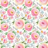 Floral σχέδιο Watercolor και άνευ ραφής υπόβαθρο Χέρι που χρωματίζεται Ευγενές σχέδιο απεικόνιση αποθεμάτων