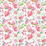 Floral σχέδιο Watercolor Στοκ εικόνα με δικαίωμα ελεύθερης χρήσης