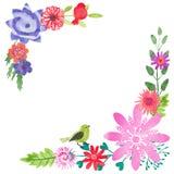Floral σύνθεση γωνιών Watercolor ελεύθερη απεικόνιση δικαιώματος
