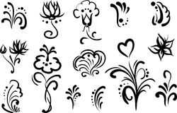 floral σύνολο στοιχείων σχεδί& Στοκ εικόνα με δικαίωμα ελεύθερης χρήσης