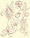 floral σύνολο φύσης στοιχείων Στοκ Εικόνα