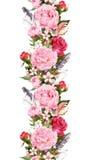 Floral σύνορα με τα ρόδινα peony λουλούδια, τριαντάφυλλα, άνθος κερασιών, φτερά πουλιών Εκλεκτής ποιότητας άνευ ραφής λωρίδα στο  ελεύθερη απεικόνιση δικαιώματος