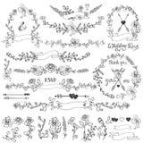 Floral σύνολο ντεκόρ Doodles Στεφάνι, σύνορα, στοιχεία Στοκ Εικόνες