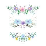 Floral σύνολο συνόρων Watercolor Στοκ Εικόνα