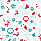 Floral σύσταση σχεδίων Χριστουγέννων εκλεκτής ποιότητας, άνευ ραφής elegants, orn απεικόνιση αποθεμάτων
