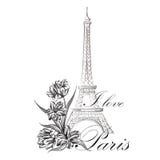 Floral του Παρισιού πύργος Eiffil ορόσημων του Παρισιού απεικόνισης διάσημος διανυσματική απεικόνιση