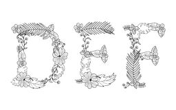 floral τροπικός Γράμμα Δ, Ε, Φ Στοκ φωτογραφίες με δικαίωμα ελεύθερης χρήσης