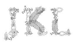 floral τροπικός Γράμμα J, Κ, Λ Στοκ Εικόνες