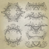 floral τρύγος πλαισίων Στοιχείο για το σχέδιο Στοκ Εικόνες