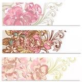 Floral υπόβαθρα που τίθενται με τα λουλούδια Στοκ Φωτογραφίες