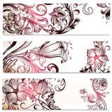 Floral υπόβαθρα που τίθενται με τις διακοσμήσεις Στοκ Εικόνα