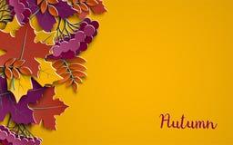 Floral υπόβαθρο εγγράφου φθινοπώρου με τα ζωηρόχρωμα φύλλα δέντρων στο κίτρινο υπόβαθρο, στοιχεία σχεδίου για το έμβλημα εποχής π Στοκ Εικόνες