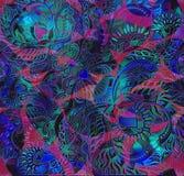 Floral υπόβαθρο κάλυψης σχεδίων, ινδικό μοτίβο Στοκ εικόνα με δικαίωμα ελεύθερης χρήσης