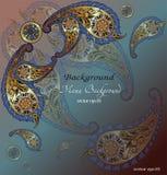 Floral υπόβαθρο κάλυψης σχεδίων, ινδικό μοτίβο Paisley Στοκ Εικόνα