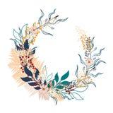 Floral υπόβαθρο κύκλων Στρογγυλή απεικόνιση φθινοπώρου με τα φύλλα, τα χορτάρια και τα μούρα διανυσματική απεικόνιση