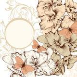 Floral υπόβαθρο με τα λουλούδια και διάστημα για το κείμενο Στοκ Εικόνα