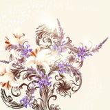 Floral υπόβαθρο με τα λουλούδια και τη διακόσμηση Στοκ Εικόνες