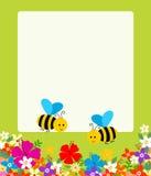 Floral υπόβαθρο με τη μέλισσα και το λουλούδι Στοκ Εικόνες