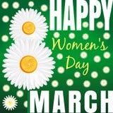 Floral υπόβαθρο με τις μαργαρίτες και συγχαρητήρια από τις 8 Μαρτίου Ημέρα των ευτυχών γυναικών Στοκ Φωτογραφία