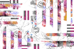Floral υπόβαθρο με το περίγραμμα λουλουδιών μολυβιών και το στοιχείο watercolor Στοκ Εικόνα