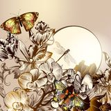 Floral υπόβαθρο μόδας με τις πεταλούδες και τις ορχιδέες Στοκ φωτογραφία με δικαίωμα ελεύθερης χρήσης