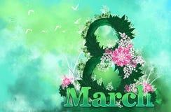 Floral υπόβαθρο, στις 8 Μαρτίου, ημέρα γυναικών ` s απεικόνιση αποθεμάτων