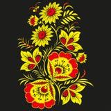 Floral υπόβαθρο στο παραδοσιακό ρωσικό ύφος Khokhloma. Στοκ Εικόνες