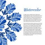 Floral υπόβαθρο Watercolor Αφηρημένο πλαίσιο στο ύφος gzhel Διανυσματικό πρότυπο για το ιπτάμενο, έμβλημα, αφίσα, φυλλάδιο, κάρτε Στοκ Φωτογραφίες