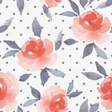 Floral υπόβαθρο Watercolor Λουλούδια και σημείο Πόλκα Άνευ ραφής σχέδιο 30 Στοκ φωτογραφίες με δικαίωμα ελεύθερης χρήσης