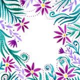 Floral υπόβαθρο Watercolor Μοναδικό πλαίσιο με τα λουλούδια το watercolor προτύπων ανθίζει την κάρτα για την πρόσκληση, γάμος και Στοκ Φωτογραφίες