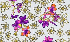 Floral υφαντικό σχέδιο τυπωμένων υλών Στοκ Φωτογραφίες