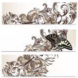Floral φυλλάδια που τίθενται με τις πεταλούδες Στοκ εικόνες με δικαίωμα ελεύθερης χρήσης