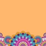 Floral φωτεινά χρωματισμένα σύνορα mandala επίσης corel σύρετε το διάνυσμα απεικόνισης Στοκ Φωτογραφίες