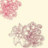 Floral χέρι συνόρων σχεδίων που σύρεται Στοκ Εικόνες