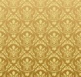 floral χρυσή άνευ ραφής εκλεκτής ποιότητας ταπετσαρία ανασκόπησης Στοκ φωτογραφία με δικαίωμα ελεύθερης χρήσης